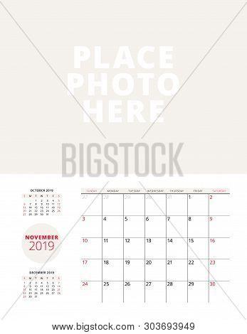 Wall Calendar Planner Template For November 2019. Week Starts On Sunday. Vector Illustration. Statio