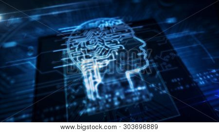 Artificial Intelligence, Deep Machine Learning, Cybernetic Brain And Analysing Concept With Ai Head