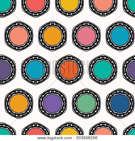 Abstract Organic Cut Dotty Circles. Vector Pattern Seamless Background. Hand Drawn Tin Top Lid Style