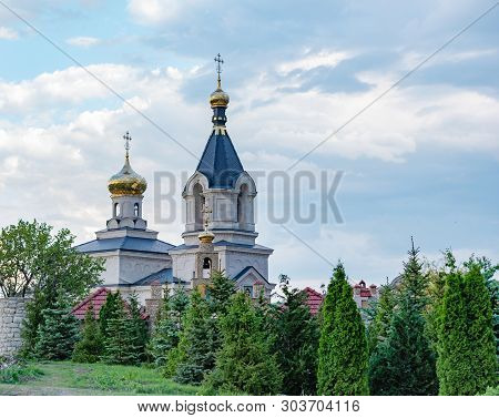 Stock Photo View Of The Golden Domed Monastery With Cathedral And Bell Tower Seen