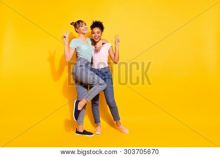 Full Length Body Size Photo Beautiful She Her Lady Best Buddies Different Nationalities Hold Hands A