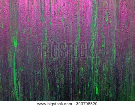 Purple Green Neon Background. Abstract Splatter On Leak Vintage Wall. Paint Splatter, Green Leak On