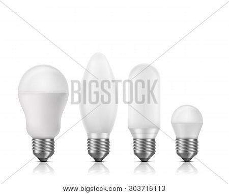 Different Shapes And Size, Fluorescent Or Led Light Bulbs With White Matt Glass And E27 Base 3d Real