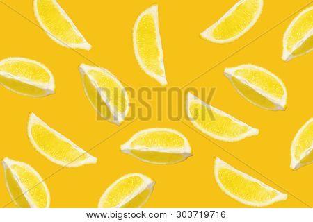 Abstract Lemon Lobules Pattern On Yellow Background