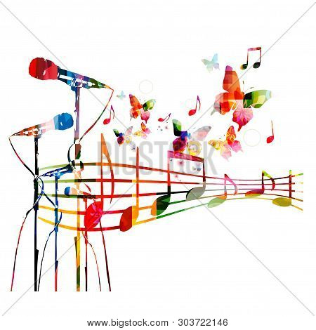 poster of Colorful microphones with music notes isolated vector illustration design. Music background. Karaoke poster, music festival poster, live concert events, party flyer