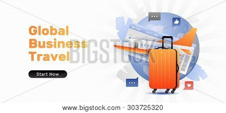 Global Business Travel Banner Template With Orange Suitcase And Airplane. Vector Template Of Travel