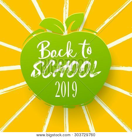Back To School Appler With Hand Drawn Ink Rays. Lettering Style Back To School On Education Symbol F