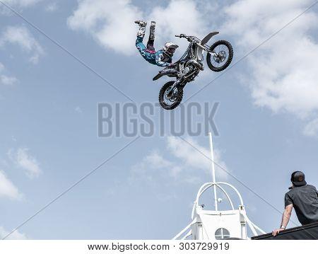 Prague, Czech Republic - 16/5/2019 Fmx Supermann Seat Grab Trick