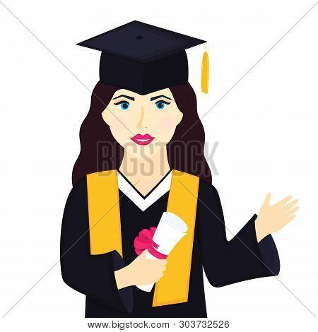 Young Girl University Graduate In Graduation Cap With Tassel And Gown Holds A Diploma And A Greeting