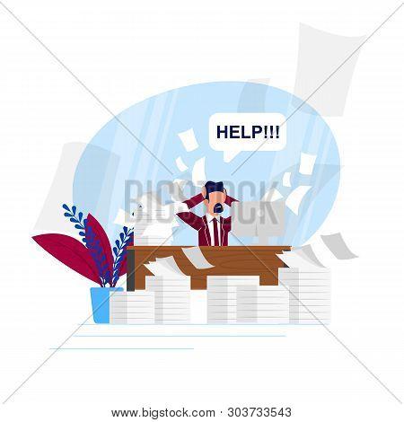 Vector Illustration Busy Rhythm Life Cartoon Flat. Man Asks For Help Unloading Work Tasks. Lack Time