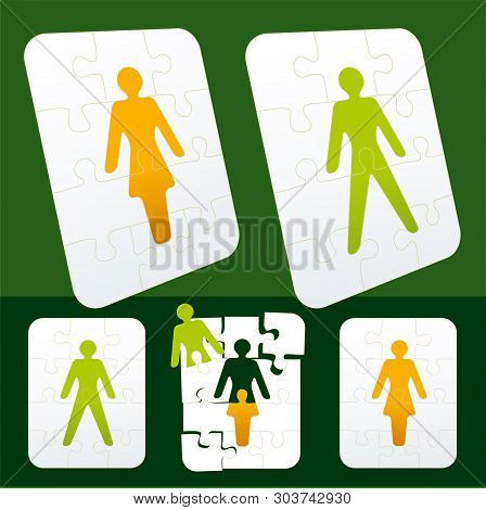 Gender Symbols As Puzzle Pieces. Man And Woman Interchangeable.