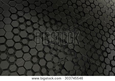 3d illustration of a black and white hexagon background
