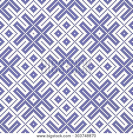 Seamless Traditional Russian And Slavic Ornament Embroidered Cross-stitch.disabling Layer, You Can O