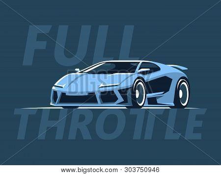 Blue Supercar Hypercar Sport Car Vector Illustration