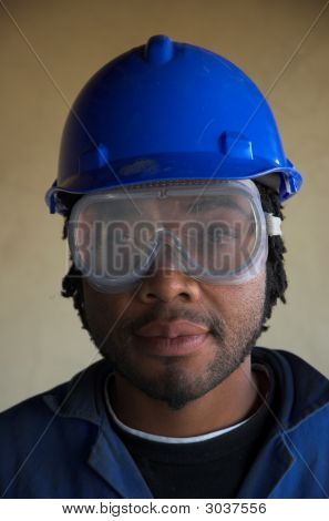 Construction Worker And Eye Face Mask