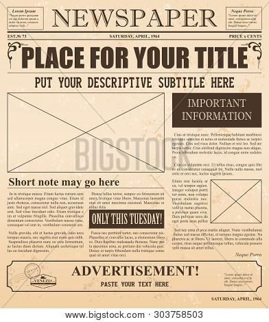 Vector Illustration Of Retro Newspaper With Old Style Fonts And Vintage Effect. Place For Pictures A