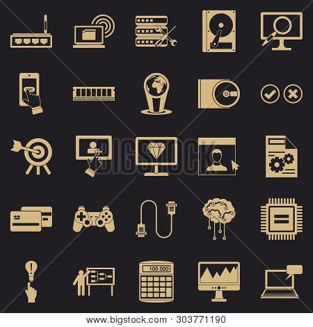 Site Icons Set. Simple Set Of 25 Site Vector Icons For Web For Any Design