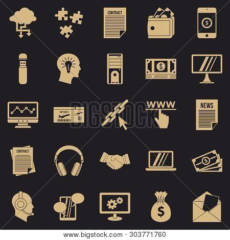Portfolio Site Icons Set. Simple Set Of 25 Portfolio Site Vector Icons For Web For Any Design