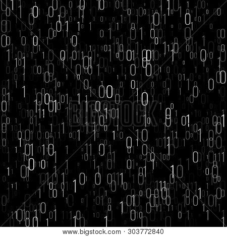 Binary Code Digital Technology Background. Computer Data By 0 And 1. Algorithm Binary Data Code, Dec