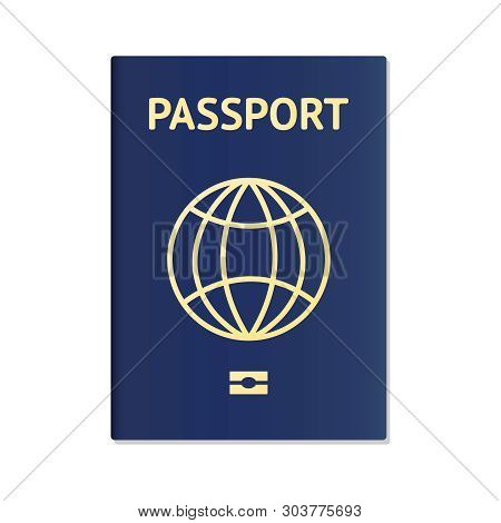 Blue Passport. International Identification Document For Travel. Vector Image About Identification,