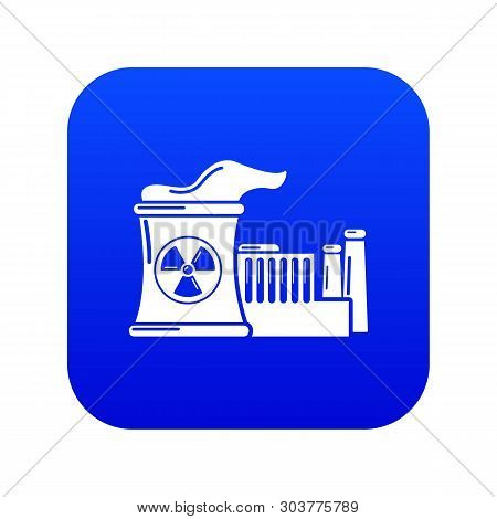 Atomic Reactor Icon Blue Vector Isolated On White Background