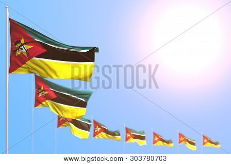 Pretty Many Mozambique Flags Placed Diagonal With Selective Focus And Free Place For Your Content -