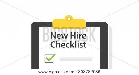 New hire checklist. Discount clipart isolated on white background