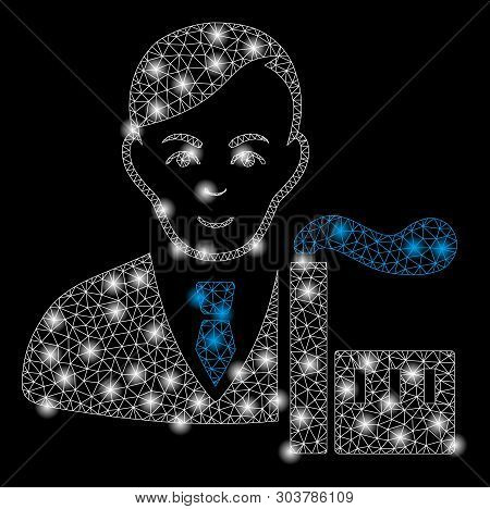 Bright Mesh Capitalist Oligarch With Glare Effect. Abstract Illuminated Model Of Capitalist Oligarch