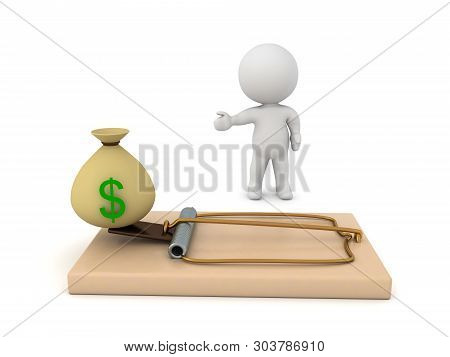 3D Rendering of a classic mousetrap. 3D Rendering isolated on white. poster