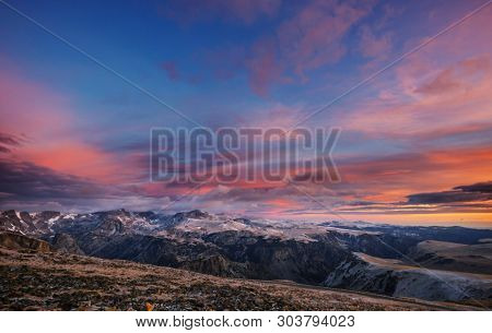 Beautiful landscape of  Beartooth Pass. Shoshone National Forest, Wyoming, USA. Sunrise scene.