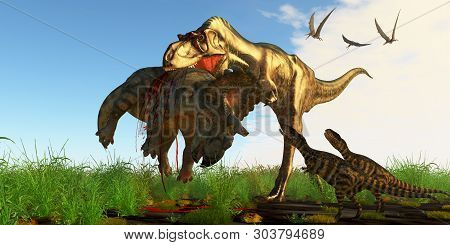 Mother Albertosaurus Dinosaur 3d Illustration - Albertosaurus Mother Dinosaur Brings Her Offspring A