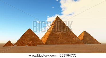 The Great Pyramids 3d Illustration - A World Wonder The Great Pyramids Have Stood For 4000 Years On