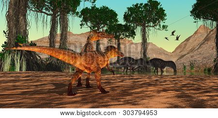 Cretaceous Era Swamp 3d Illustration - Austroraptor Dinosaurs Watch As Amargasaurus Drink From A Cre