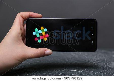 Tula, Russia - May 12 , 2019: Slack On Phone Display.