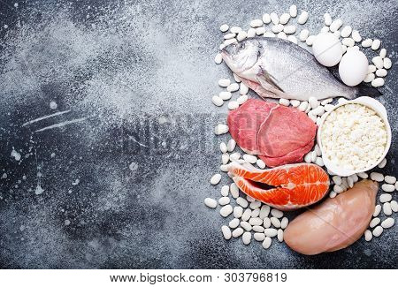 Vegetables, Fruit And Foods Containing Potassium, Stone Background, Top View, Space For Text. Natura