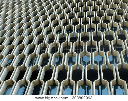 Oahu, Hawaii - May 6, 2013:  Concrete Grille Wall Of Historic Ibm Building On Oahu, Hawaii. At 1240