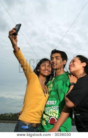 Three Asian Have Fun At Outdoor