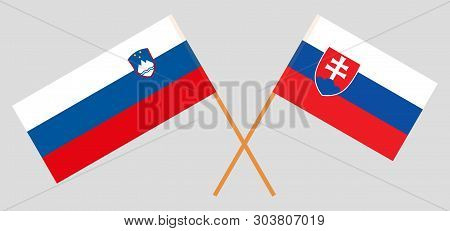 Slovenia And Slovakia. The Slovenian And Slovakian Flags. Official Colors. Correct Proportion. Vecto