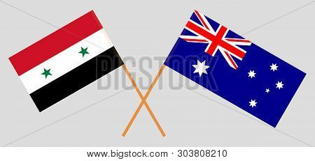 Australia And Syria. The Australian And Syrian Flags. Official Colors. Correct Proportion. Vector Il