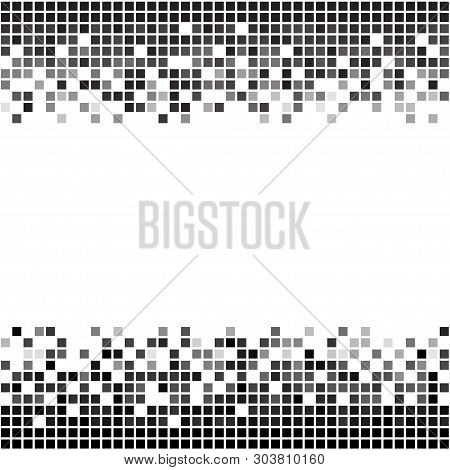 Fading Greyscale Border Pixel Pattern. Black And White Pixel Background. Vector Illustration For You