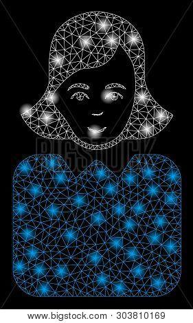 Bright Mesh Bureaucrat Woman With Glow Effect. Abstract Illuminated Model Of Bureaucrat Woman Icon.