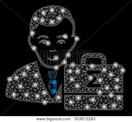 Bright Mesh Bookkeeper With Glare Effect. Abstract Illuminated Model Of Bookkeeper Icon. Shiny Wire