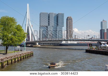 Rotterdam, Netherlands - May 11, 2019 : Skyline View From The New Meuse River Borders With Erasmus B