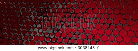3d illustration of a dark red hexagon background
