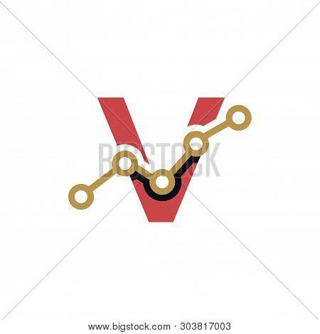V Letter Business Stats Logo Design Element. logo Vector Template poster