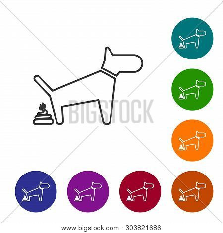 Grey Dog Pooping Line Icon Isolated On White Background. Dog Goes To The Toilet. Dog Defecates. The