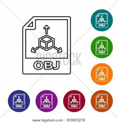 Grey Obj File Document Icon. Download Obj Button Line Icon Isolated On White Background. Obj File Sy