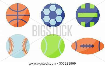 Vector Illustration. Sport Ball Icon. Flat Style. Basketball, Volley Ball, Soccer Ball, Tennis Ball,