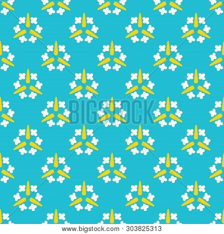 Bright Summer Daisy Flower Bloom Seamless Vector Pattern. Stylized Geometric Floral All Over Print.