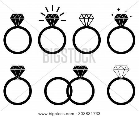 Diamond Engagement Ring On White Background. Diamond Ring Icon For Your Web Site Design, Logo, App,